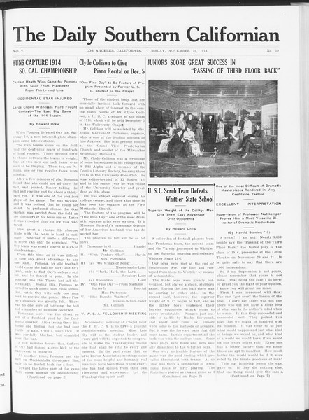The Daily Southern Californian, Vol. 5, No. 39, November 24, 1914