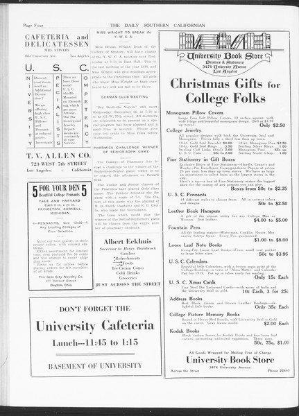 The Daily Southern Californian, Vol. 5, No. 46, December 15, 1914