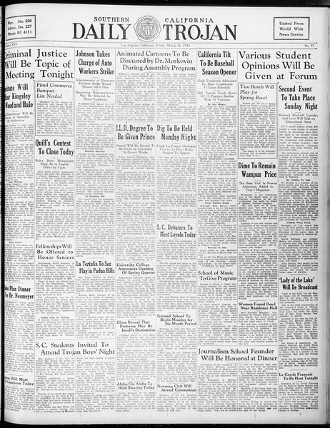 Daily Trojan, Vol. 25, No. 98, March 16, 1934