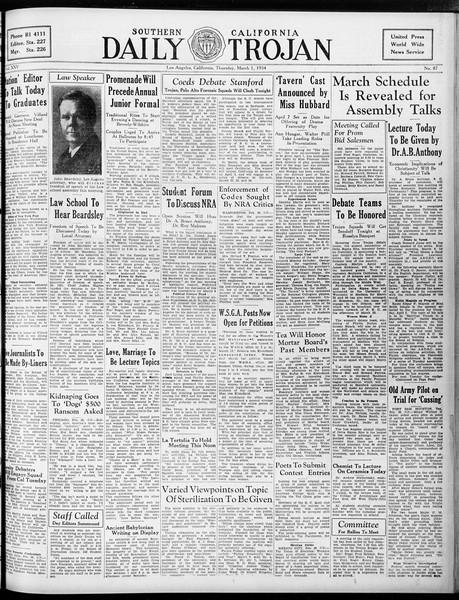 Daily Trojan, Vol. 25, No. 87, March 01, 1934