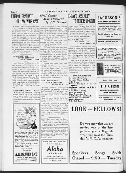 The Southern California Trojan, Vol. 7, No. 70, February 11, 1916