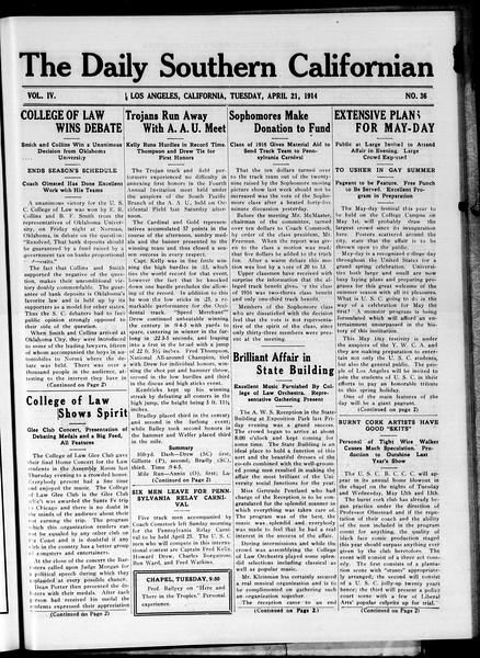 The Daily Southern Californian, Vol. 4, No. 36, April 21, 1914