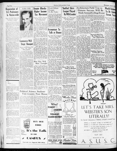Daily Trojan, Vol. 25, No. 111, April 11, 1934
