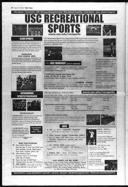 Daily Trojan, Vol. 147, No. 1, August 19, 2002