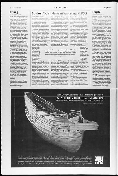 Daily Trojan, Vol. 159, No. 55, November 08, 2006