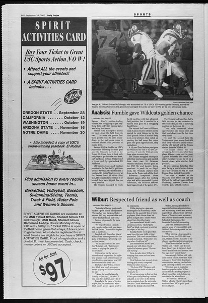 Daily Trojan, Vol. 147, No. 20, September 24, 2002