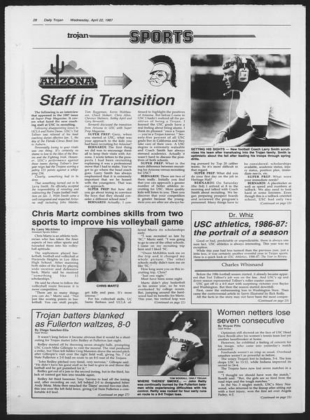 Daily Trojan, Vol. 103, No. 64, April 22, 1987