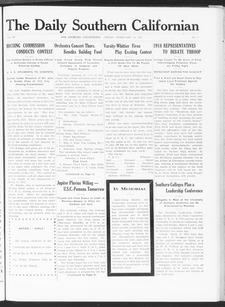 The Daily Southern Californian, Vol. 6, No. 5, February 19, 1915