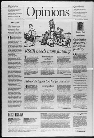 Daily Trojan, Vol. 147, No. 14, September 16, 2002