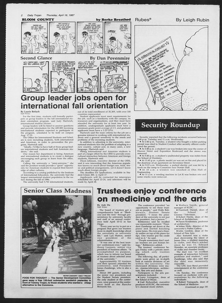 Daily Trojan, Vol. 103, No. 60, April 16, 1987