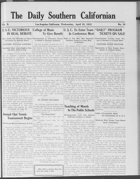 The Daily Southern Californian, Vol. 10, No. 35, April 23, 1913