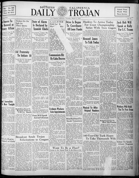 Daily Trojan, Vol. 25, No. 92, March 08, 1934