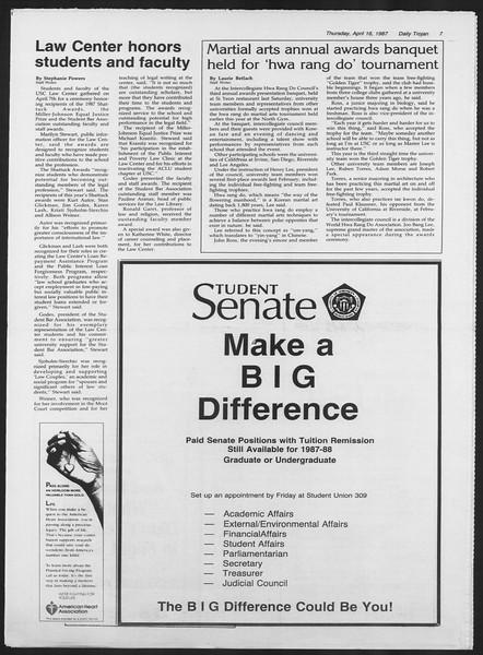 Daily Trojan, Vol. 103, No. 60, April 16, 1987