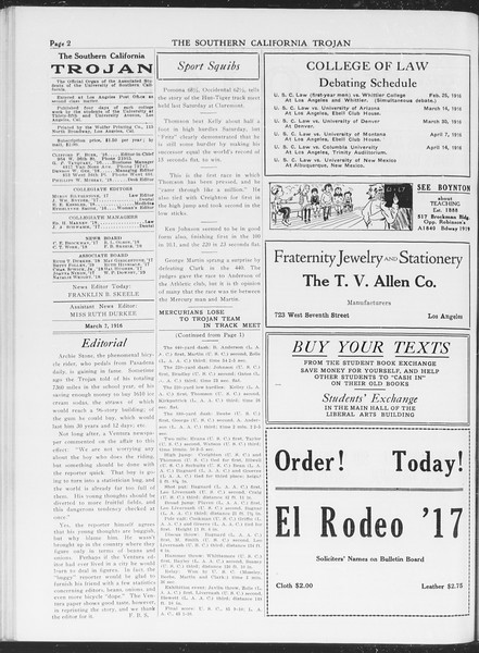 The Southern California Trojan, Vol. 7, No. 81, March 07, 1916