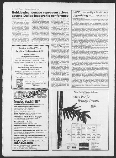 Daily Trojan, Vol. 103, No. 34, March 03, 1987