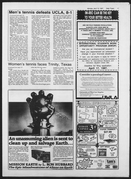 Daily Trojan, Vol. 103, No. 57, April 13, 1987