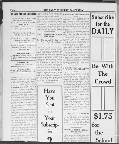 The Daily Southern Californian, Vol. 3, No. 7, September 23, 1913
