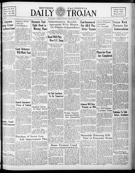 Daily Trojan, Vol. 25, No. 84, February 26, 1934