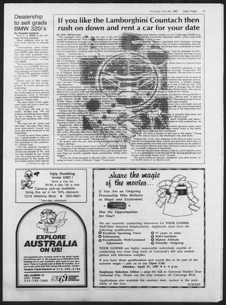 Daily Trojan, Vol. 103, No. 65, April 23, 1987