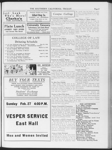 The Southern California Trojan, Vol. 7, No. 76, February 25, 1916