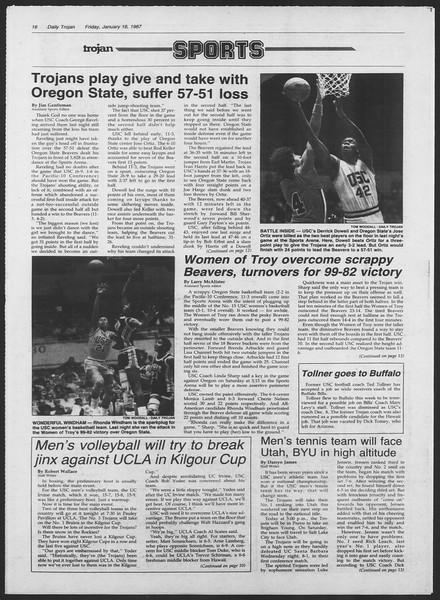 Daily Trojan, Vol. 103, No. 6, January 16, 1987