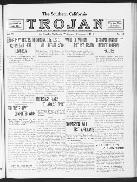 The Southern California Trojan, Vol. 7, No. 42, December 01, 1915
