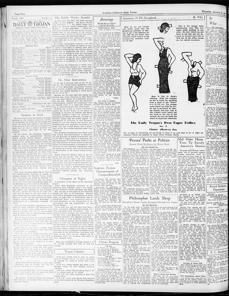 Daily Trojan, Vol. 25, No. 71, January 25, 1934