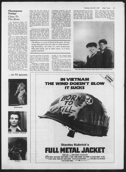 Daily Trojan, Vol. 103, No. 68, April 28, 1987