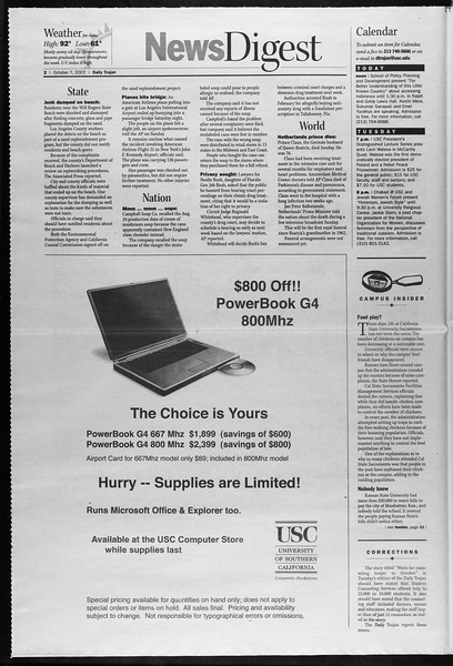 Daily Trojan, Vol. 147, No. 29, October 07, 2002