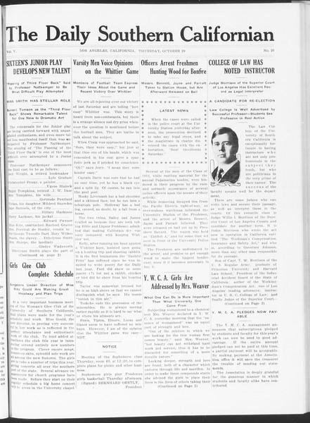 The Daily Southern Californian, Vol. 5, No. 26, October 29, 1914