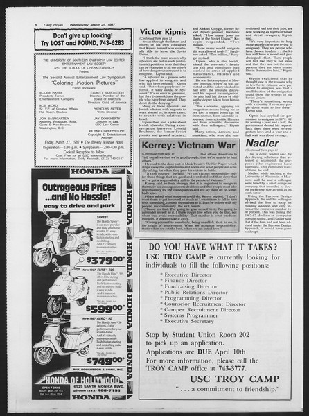 Daily Trojan, Vol. 103, No. 50, March 25, 1987