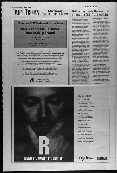 Daily Trojan, Vol. 147, No. 47, October 31, 2002