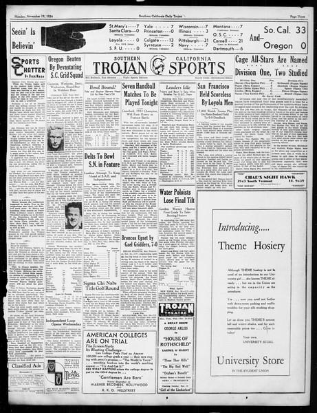 Daily Trojan, Vol. 26, No. 40, November 19, 1934