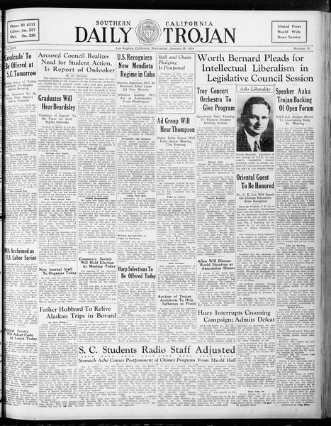 Daily Trojan, Vol. 25, No. 70, January 24, 1934