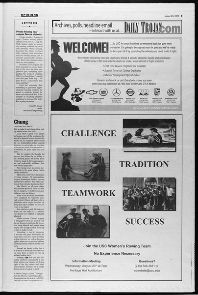 Daily Trojan, Vol. 159, No. 3, August 23, 2006