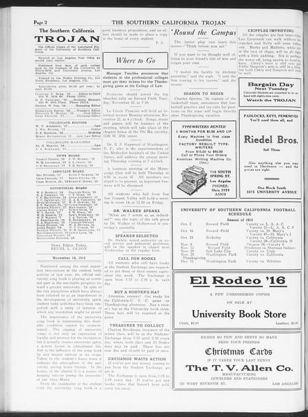 The Southern California Trojan, Vol. 7, No. 37, November 18, 1915