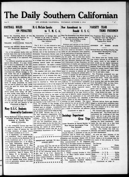 The Daily Southern Californian, Vol. 5, No. 14, October 08, 1914