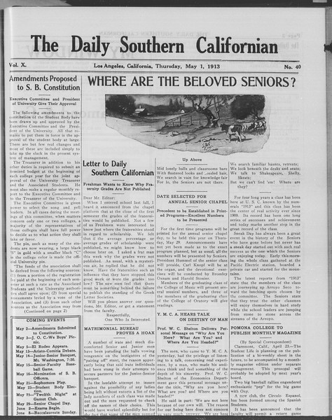 The Daily Southern Californian, Vol. 10, No. 40, May 01, 1913