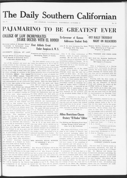 The Daily Southern Californian, Vol. 5, No. 25, October 28, 1914