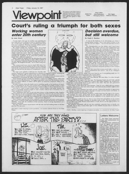 Daily Trojan, Vol. 103, No. 6, January 16, 1987