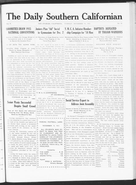 The Daily Southern Californian, Vol. 5, No. 31, November 10, 1914