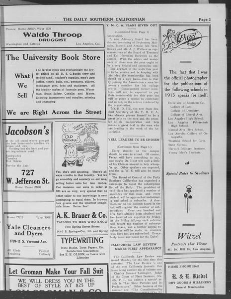 The Daily Southern Californian, Vol. 3, No. 5, September 18, 1913