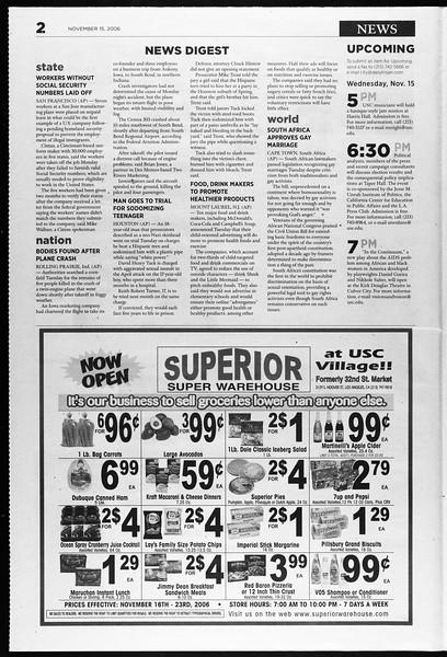 Daily Trojan, Vol. 159, No. 60, November 15, 2006