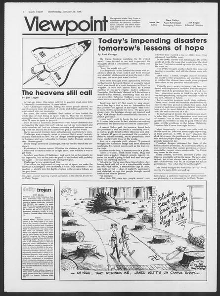 Daily Trojan, Vol. 103, No. 12, January 28, 1987