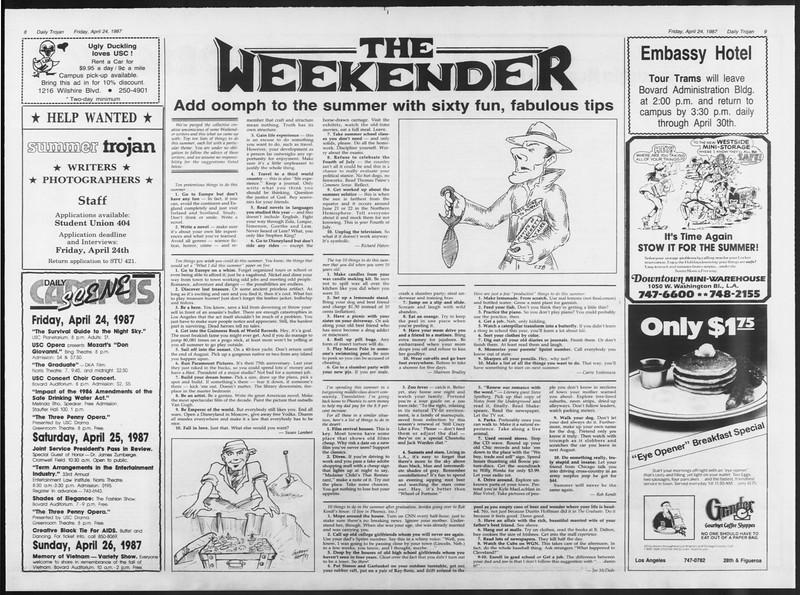 Daily Trojan, Vol. 103, No. 66, April 24, 1987