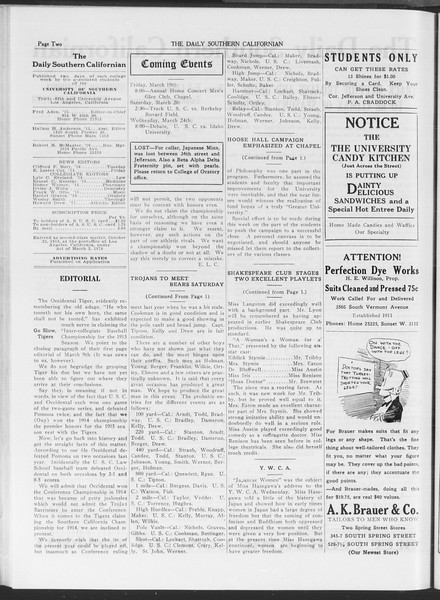 The Daily Southern Californian, Vol. 6, No. 12, March 19, 1915