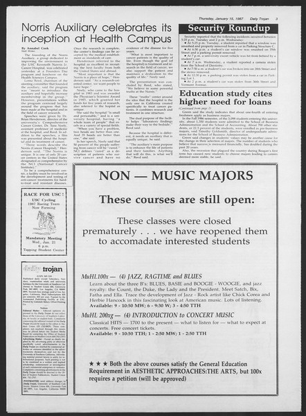 Daily Trojan, Vol. 103, No. 5, January 15, 1987