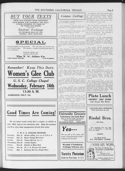 The Southern California Trojan, Vol. 7, No. 69, February 10, 1916