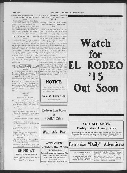 The Daily Southern Californian, Vol. 6, No. 27, May 25, 1915