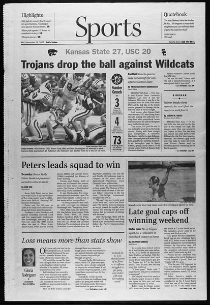 Daily Trojan, Vol. 147, No. 19, September 23, 2002